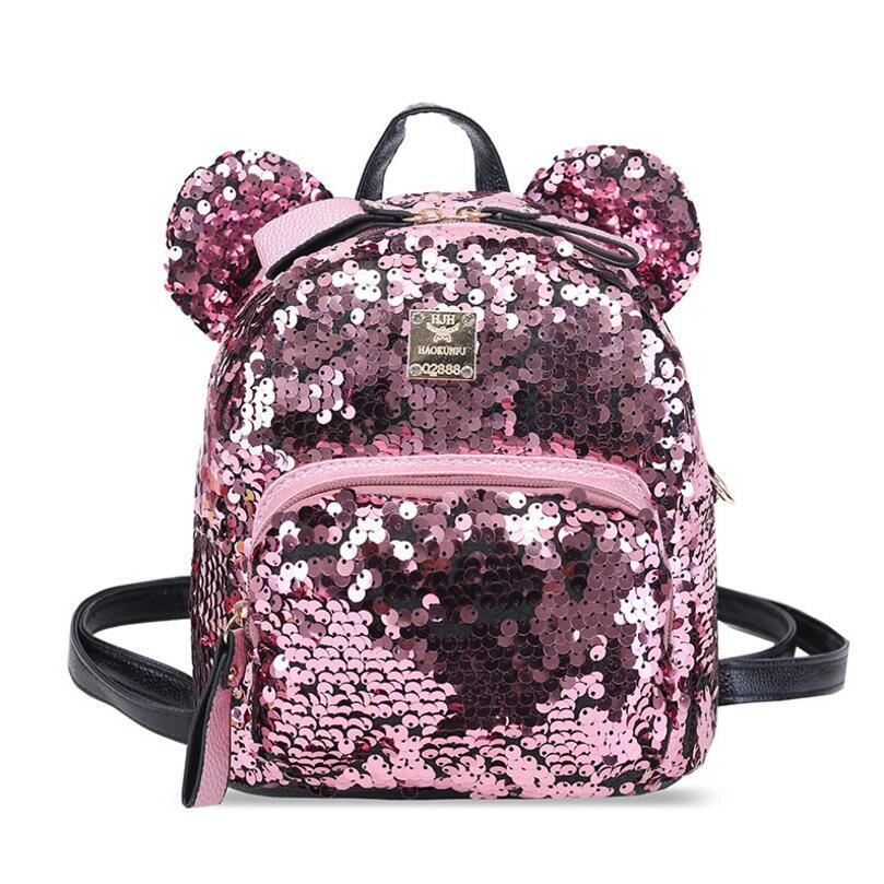 694c7c9f0203 Women PU Leather Sequins Backpack Girls Small Travel Princess Bling Backpacks  Cute Big Mickey Ears Double Shoulder Bag School Backpacks Cool Backpacks  From ...