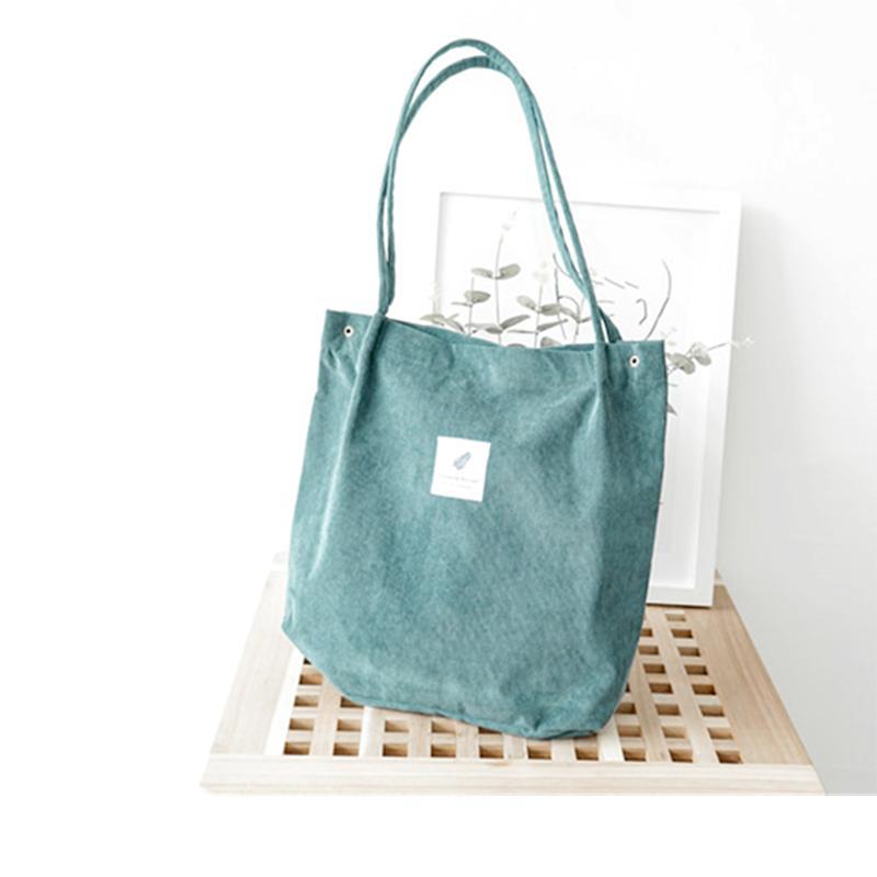 11fd3074d0 New Women Corduroy Canvas Tote Ladies Casual Shoulder Bag Foldable Reusable Shopping  Bags Beach Bag Female Cotton Cloth Handbag Messenger Bags For Women ...