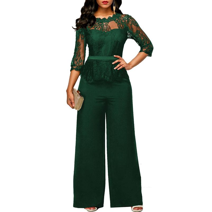 4a4224131a8 2019 New Women Jumpsuits 2018 Spring Summer Sexy Lace Jumpsuit Office Work  Fashion Ruffles Plus Size 2XL Long Straight Jumpsuits Red From Honey111