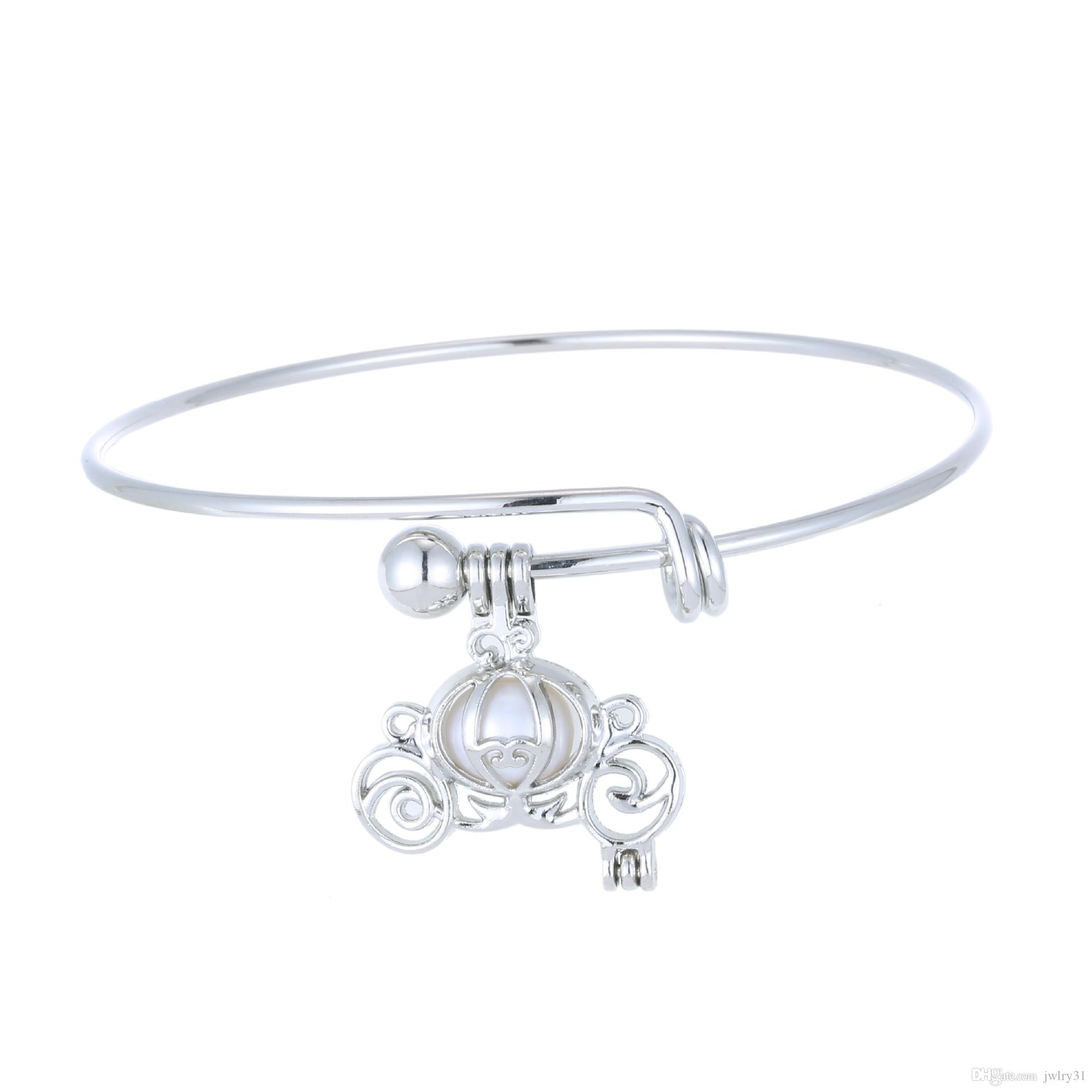 New fashion expandable wire bangle bracelets Pearl Oyster Charm Cage Lockets Bracelet DIY jewelry pick size cable wire bangle adjustable