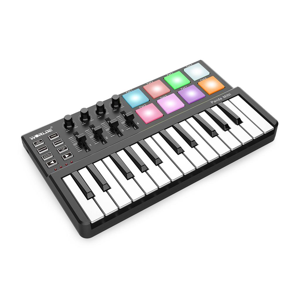 Good Quality WORLDE Panda MINI 25-Key Ultra-Portable USB MIDI Keyboard  Controller 8 Colorful Backlit Trigger Pads