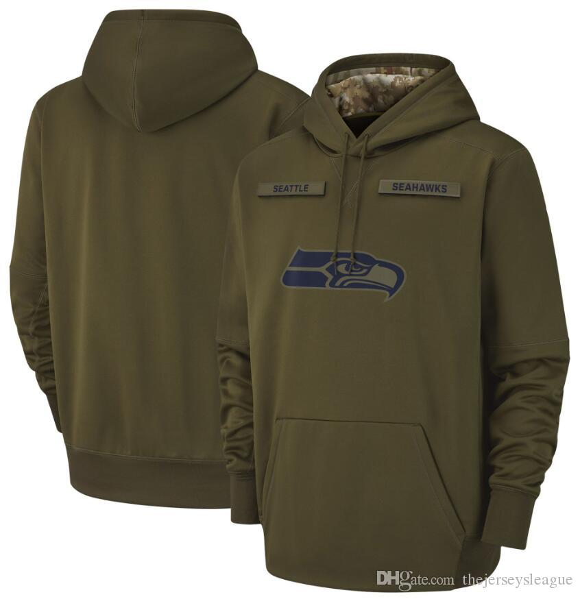 separation shoes 81b21 9597c 2018 men Seattle Sweatshirt Seahawks Salute to Service Sideline Therma  Performance Pullover Hoodie Olive