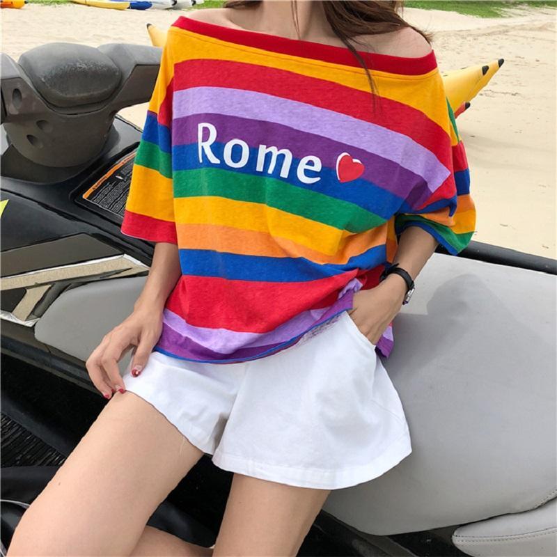dd1e7a8c Women Summer T Shirt Rainbow Striped Sweet Girls Letter Printed Loose Cute Female  Tee Tops Short Sleeve O Neck Tumblr T Shirt Tees Design T Shirt Of The Day  ...