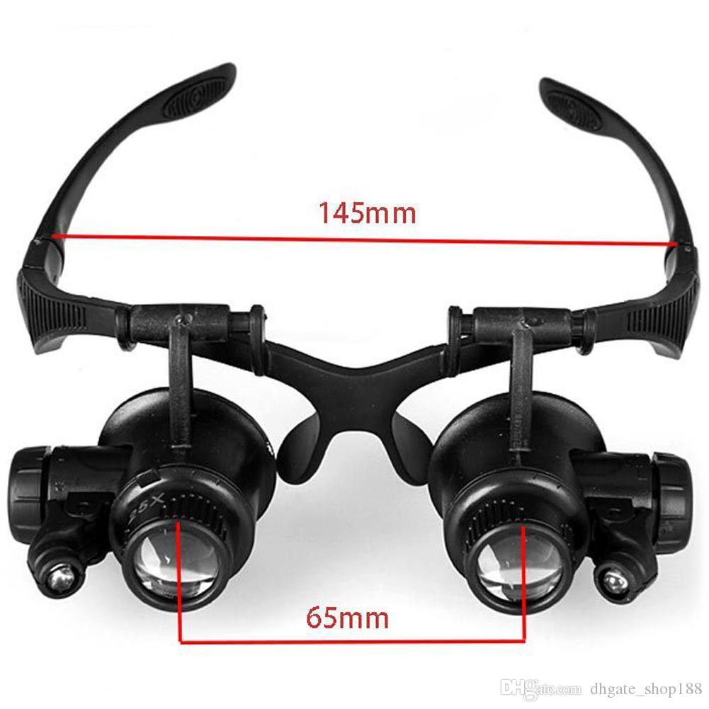 Hot 10X 15X 20X 25X Lente d'ingrandimento a doppia luce LED Lenti occhiali Lente d'ingrandimento Lente d'ingrandimento Gioielliere Strumenti di riparazione