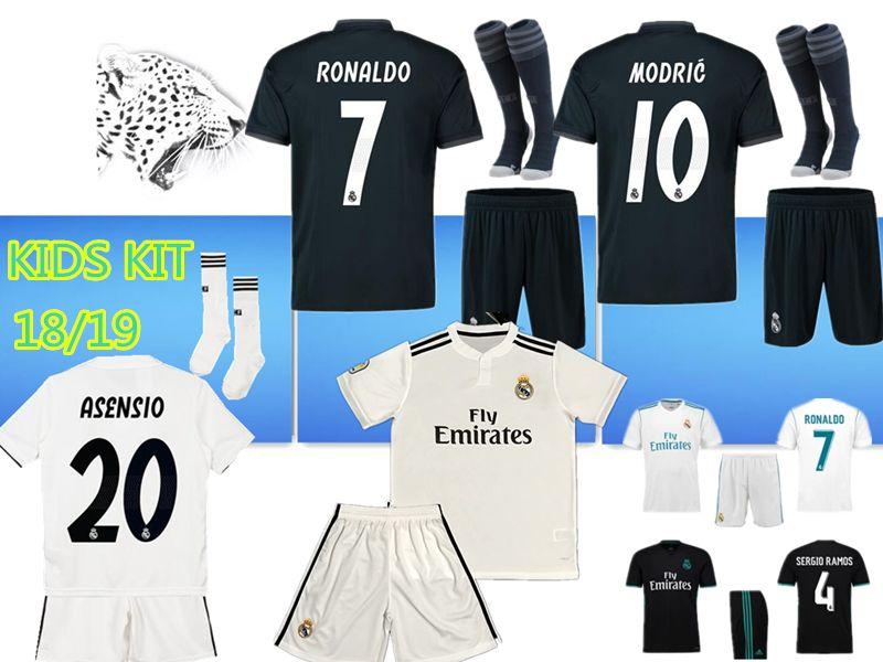 402be6648c7 TOP Kids Kits Real Madrid Soccer Jersey 2018 2019 RONALDO MORATA ...