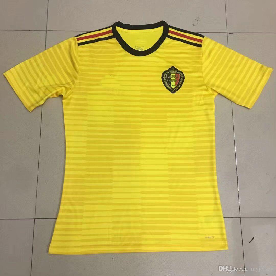 b5cfc02c2 Bélgica 2018 Jersey Rojo HAZARD Camisetas De Fútbol Copa Del Mundo Amarillo  DE BRUYNE LUKAKU FELLAINI WITSEL KOMPANY Camiseta De Fútbol Al Por Mayor WC  ...