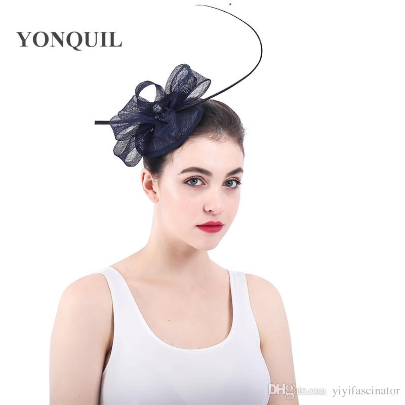 Retail Navy Wedding Sinamay Bridal Hat Flower Headwear Evening Party Quill  Womens Hats Loops Fascinators With Hairpin SYF330 Vintage Wedding Hats  1950s ... 62b2f483a4f