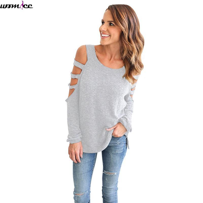 13afe82f738f43 Spring Solid Color T Shirt Women Long Sleeve Cold Shoulder Tops 2017 Loose  Tees Sexy Ladies Round Neck Autumn Cut Out T Shirt Vintage Tees Unique T  Shirts ...