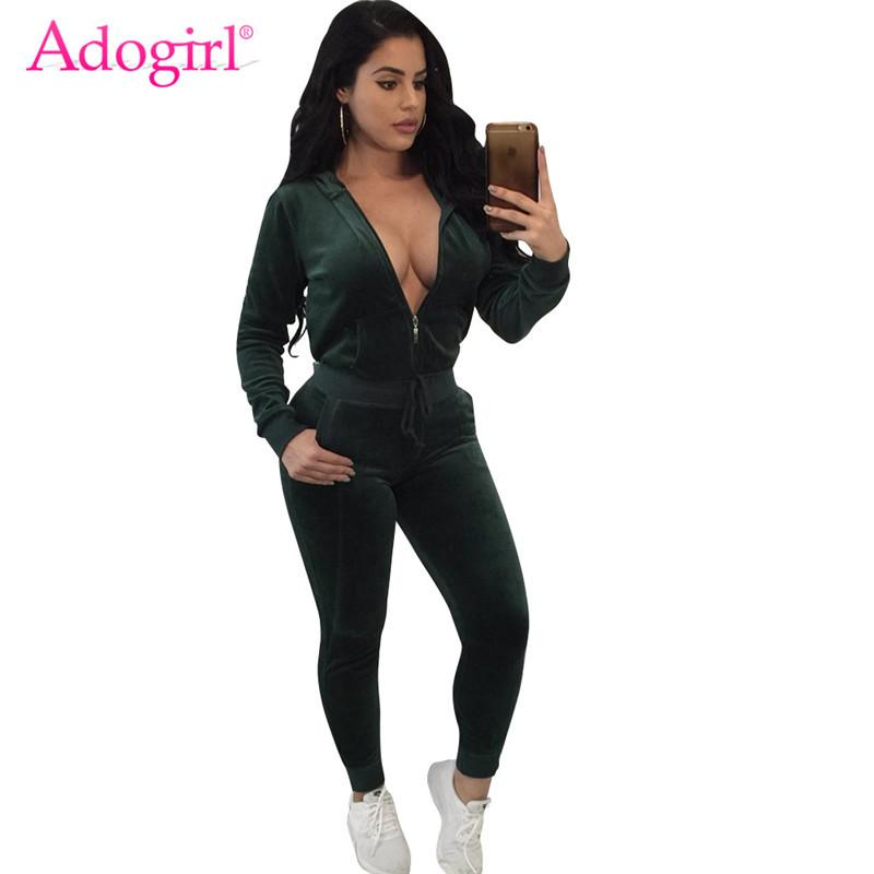 6613ff5eff4 Adogirl 2018 Autumn Velvet Women Tracksuit Zipper Up Long Sleeve Hooded Jacket  Coat Top Pockets Pants Sporting Two Piece Sets Women's Sets Cheap Women's  ...