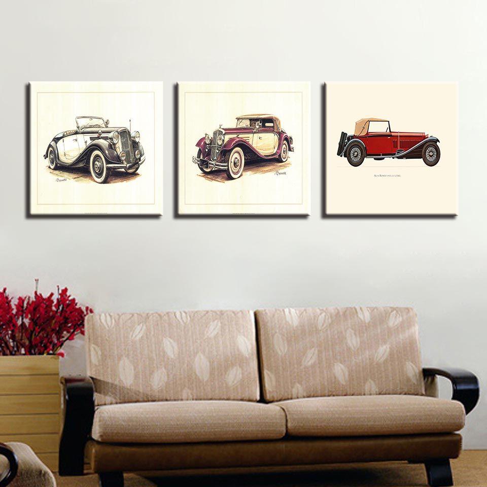 Pinturas de la lona Living Room Wall Art HD Prints 3 Piezas Hot Rod Vintage Car Poster Niños Home Decor Vehicle Pictures Framework