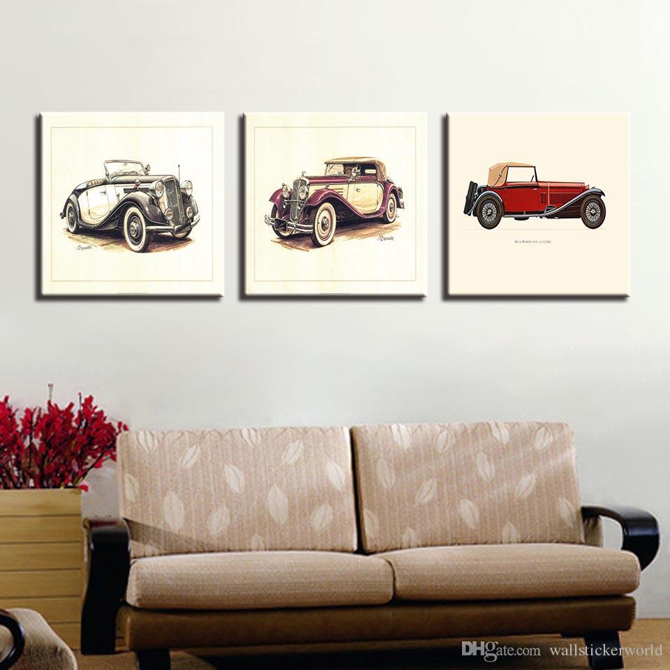 Pinturas de lona Sala de Arte Da Parede HD Imprime 3 Peças Hot Rod Do Carro Do Vintage Cartaz Crianças Decoração de Casa Veículo Quadro de Estrutura