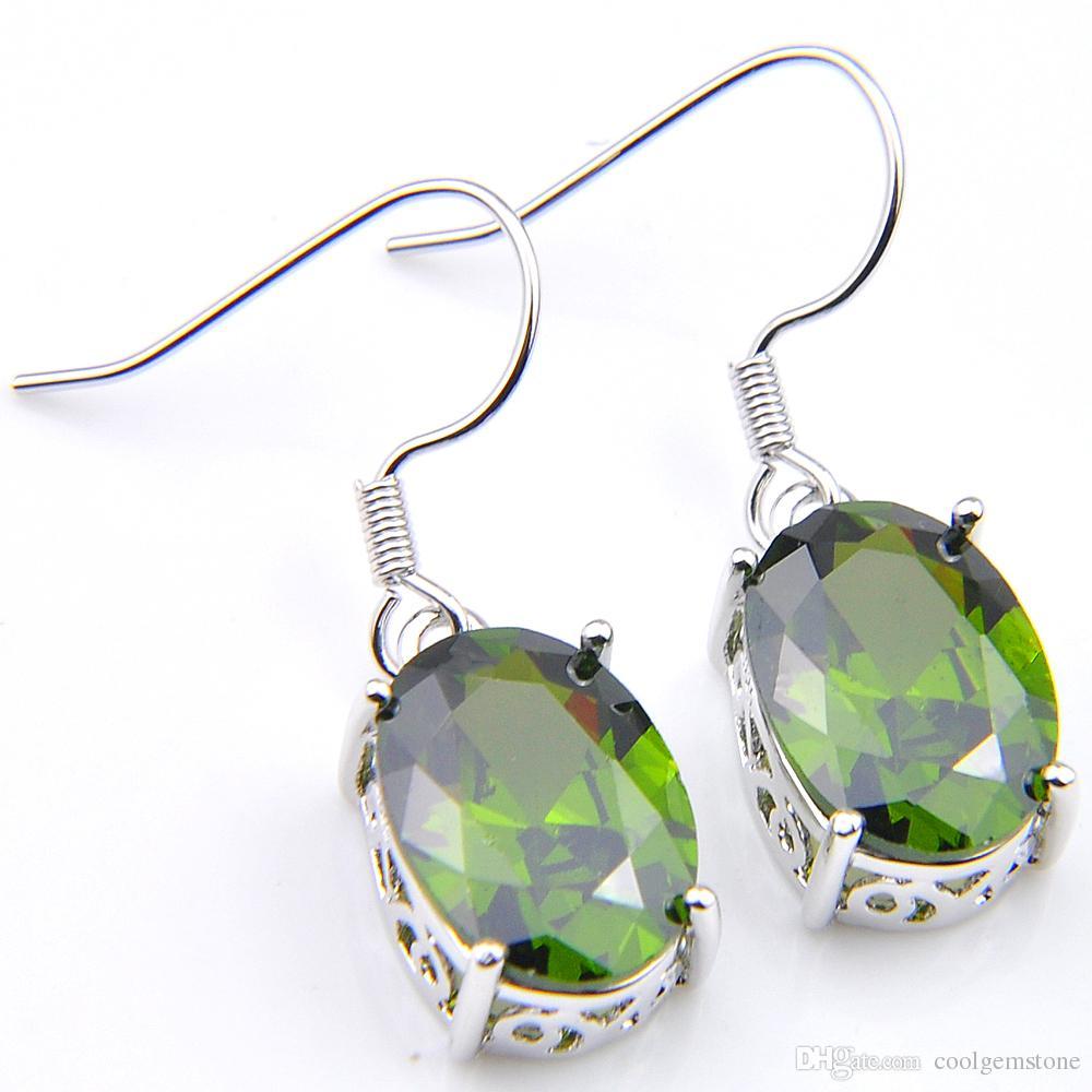 LuckyShine 6 Par Joyas de vacaciones Gemas de peridoto ovales verdes para dama nuevo estilo 925 Pendientes de gancho de plata Pendiente de moda Circón