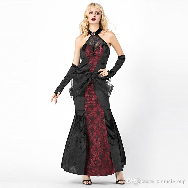 b4d4b0f8b7d8 Sexy Royal Queen Of Heart Costume Cosplay Clothing Women Halloween Fancy  Sleeveless Lace Long Dress W158851 Party Clothing Themes Group Halloween  Costumes ...