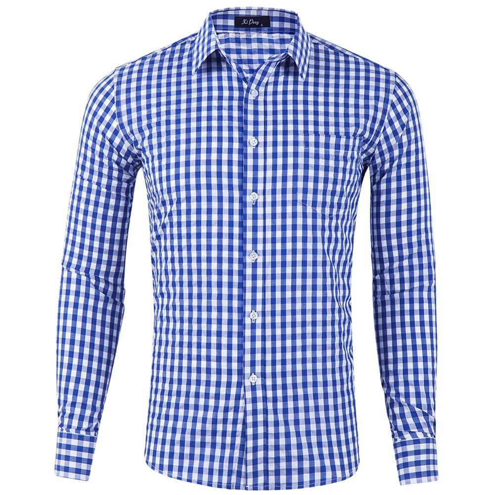 Polo Fashion Lattice Plaid Men Polo Shirt Check Casual Tees Tops Mens Clothing Polo Shirt Men Short Sleeve Dark Blue Black High Quality Goods