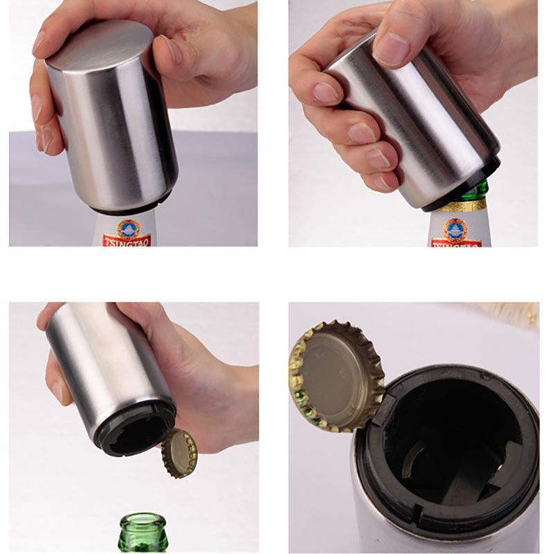 Paslanmaz Çelik Bira Şişe Açacakları Otomatik Şişe Açacakları Bira Soda Kap Kırmızı Şarap Şişe Açacağı Bar Mutfak Bira Soda Cap Bar HH7-398