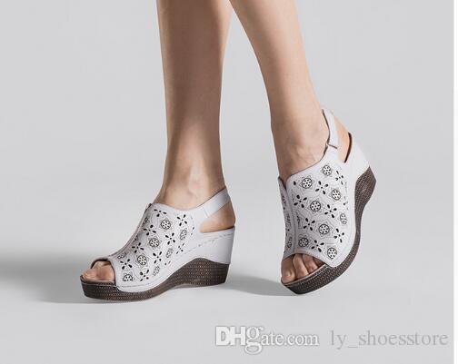 2018 New Summer Wedge Heels Women Sandals Open Toe Fish Head Platform Shoes  High Heels Slingbacks Women Shoes Designer Slides Slippers Summer Shoes  Online ... 74c27ee43ebd