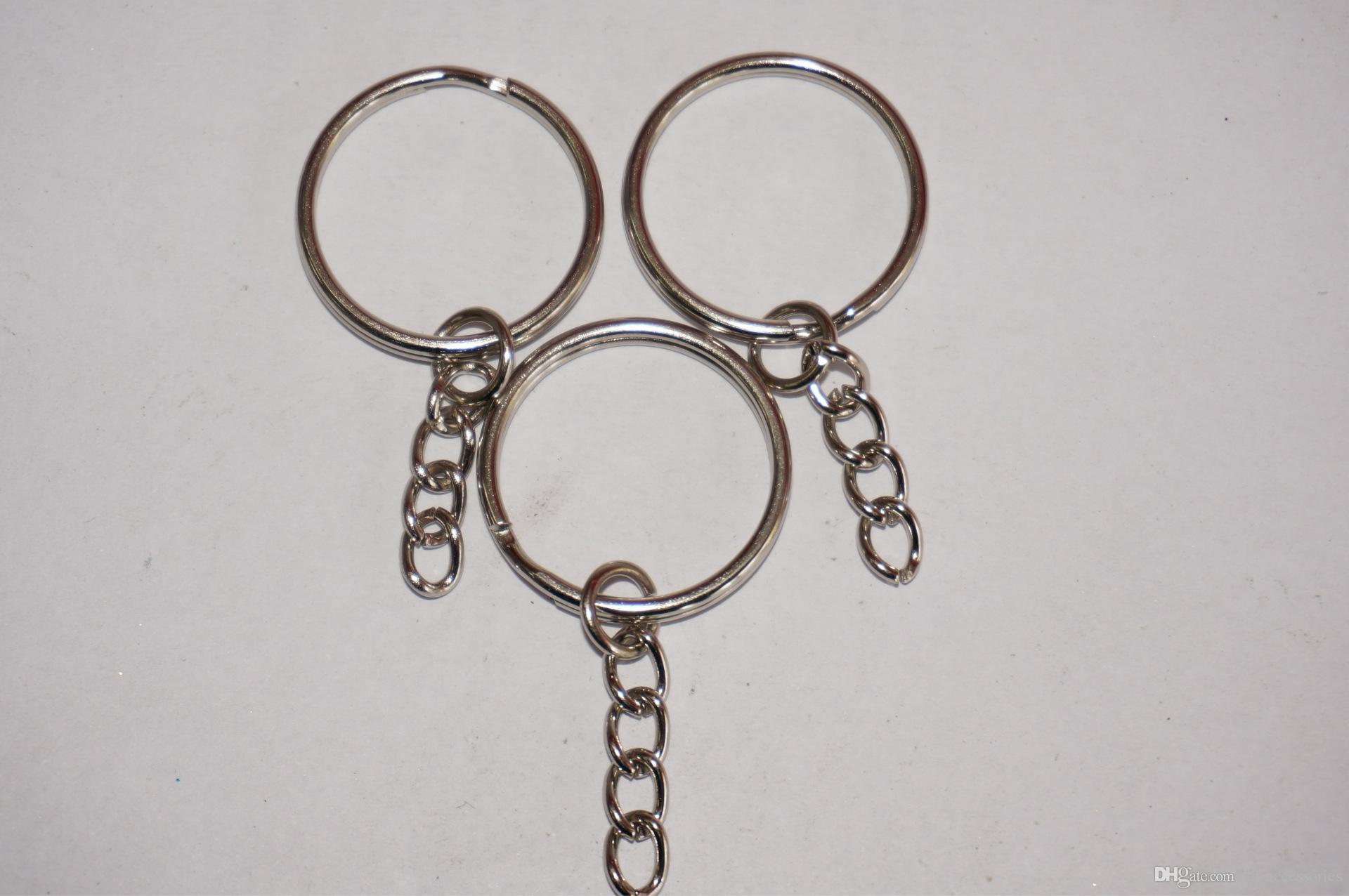 Sıcak ! Gümüş Ton Zincir anahtar Halka DIY Takı Yapımı Bulguları 25mm