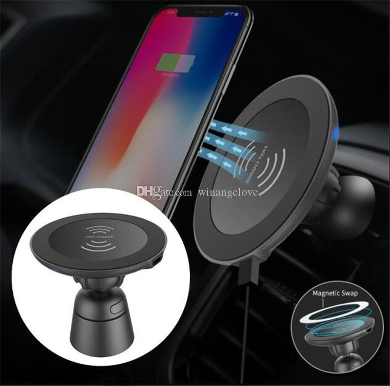 Qi Wireless Car Kit Magnetic QC 3.0 Car Mount Holder Quick Charger Fast Charging wireless charger for iphone XS samsung