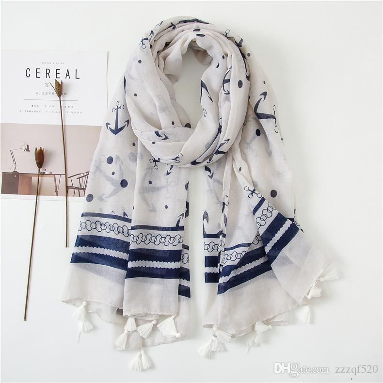 6977a40b97d3a High Quality Anchor Prints With Tassel Scarf Shawls For Women Girl Summer Wraps  Scarves Beach Shawl For Lady Blue Scarf Orange Scarf From Zzzqf520, ...