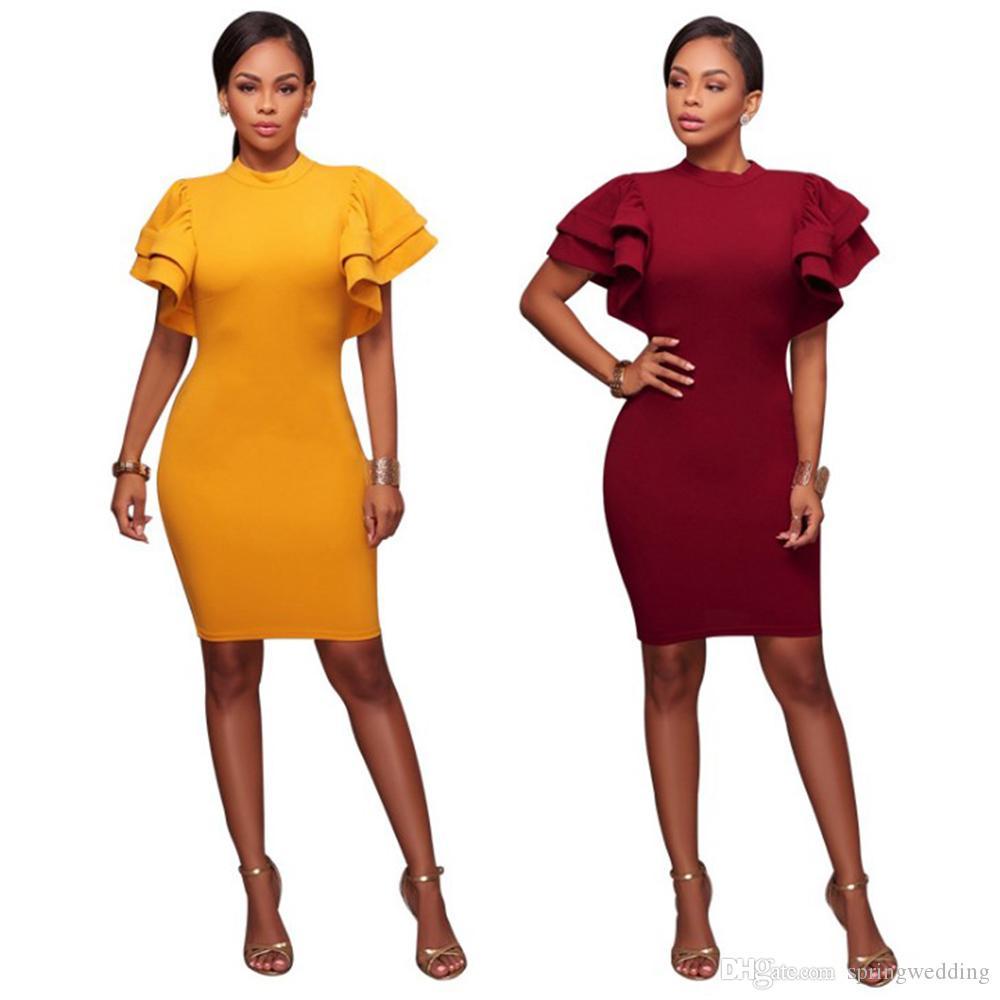 4fcfa9fed4355 Stretch Yellow Burgundy Party Dresses Plus Size Skinny Ruffles Sleeves Club  Wear Gorgeous Warm Maxi Bandage Bodycon Dress FS5538