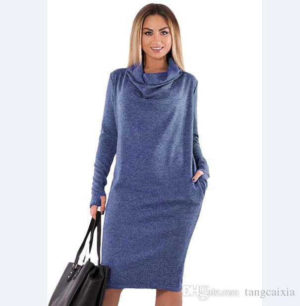 new products af496 46666 Frauen Kleider feste große Größen elegante weibliche Langarm Winter Herbst  lässig Tasche plus Größe 5xl 6xl vestidos