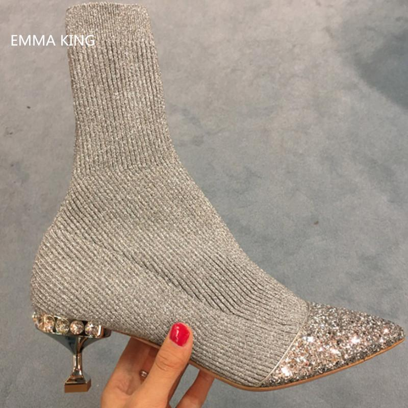 df467da5e88 Autumn Winter Low Heels Sock Boots Women Patchwork Knit Bling Bling Sequin  Toe Ankle Boots Thin Heels Pointed Toe Ladies Shoes