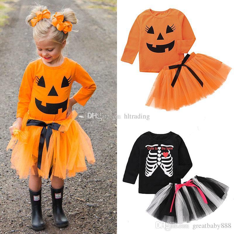 Compre Los Bebes De Halloween Trajes Ninos Craneo Calabaza Top - Trajes-de-hallowen