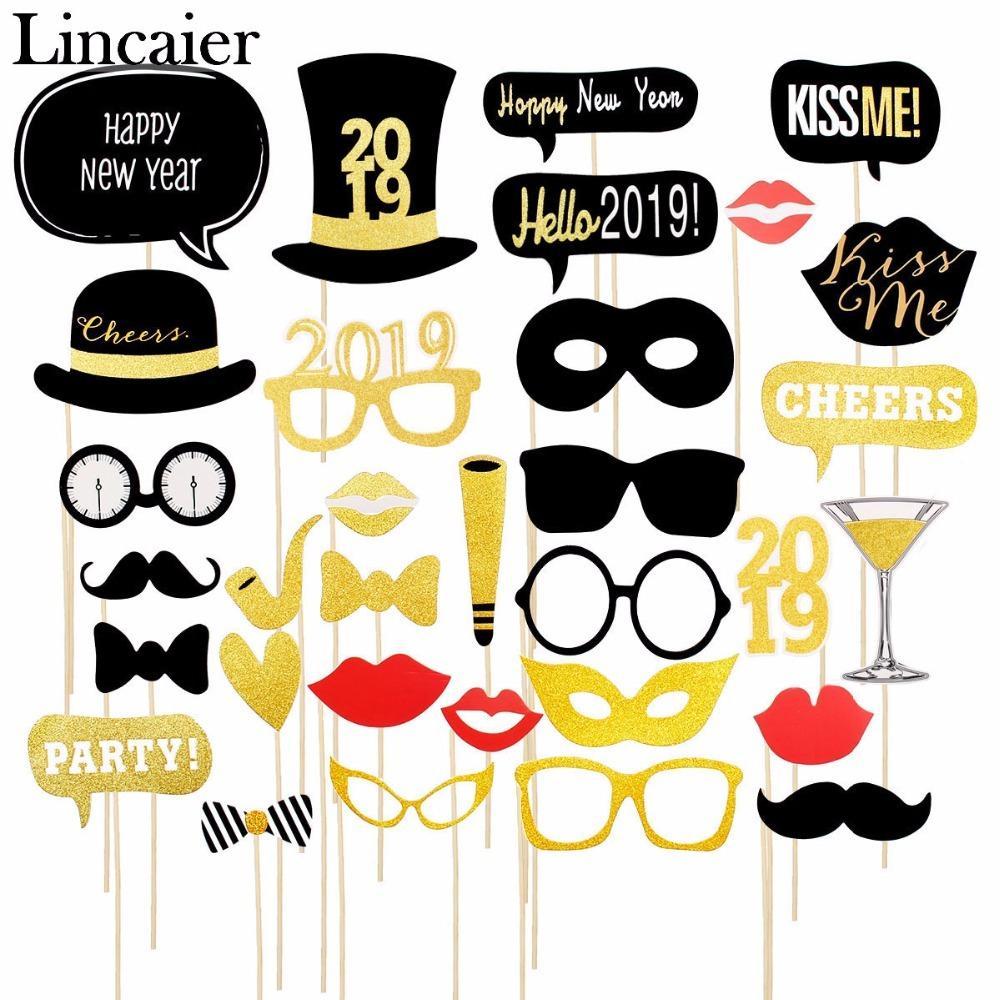 Acheter Lincaier 2019 Joyeux Nouvel An Photobooth Props Décorations De Fête  De Noël Pour La Maison Chapeau Lunettes Ornements De Noël Bonhomme De Neige  ... 9cfa2d6fc11