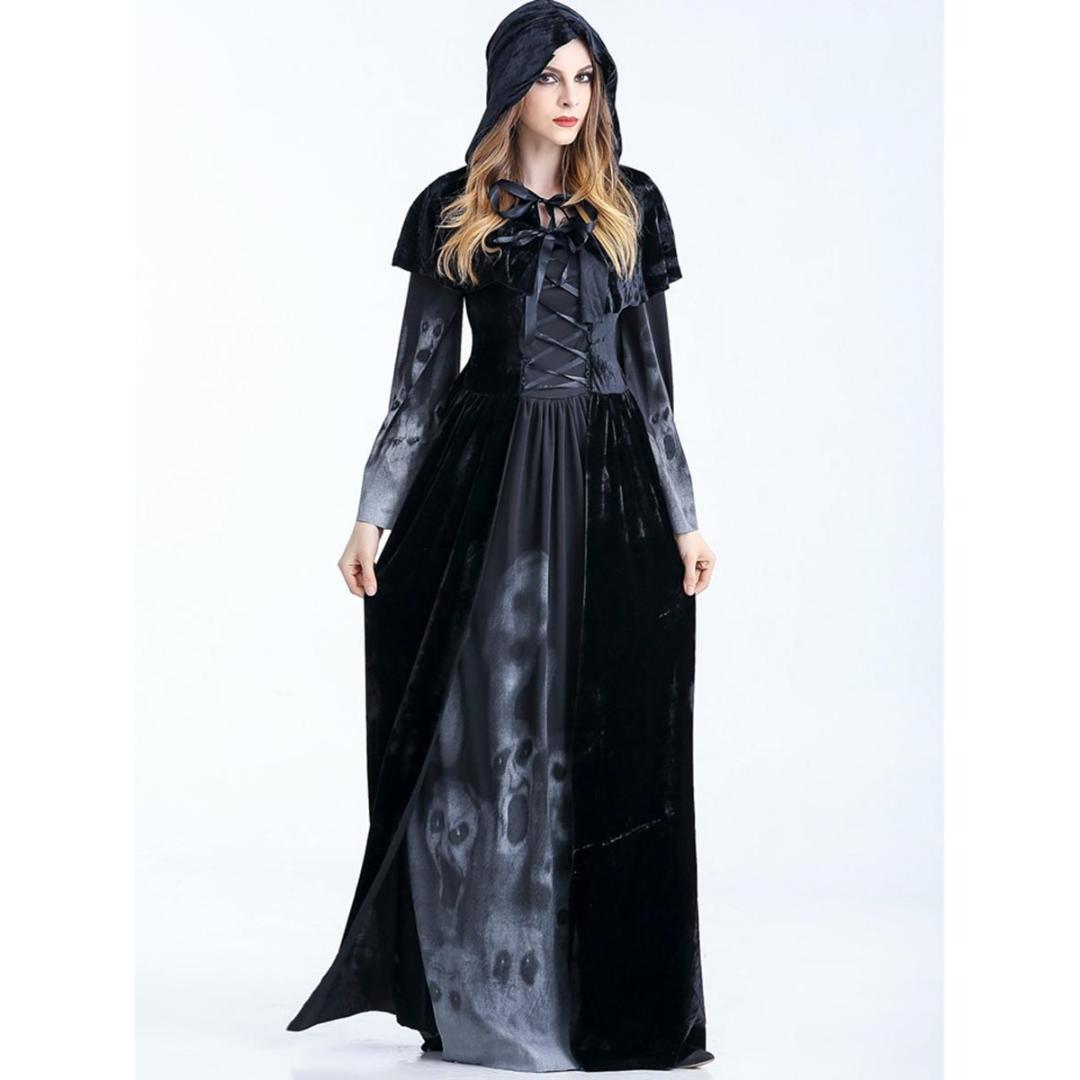 2018 Women Gothic Witch Long Dress 2018 New Floor Length Skull Print ...