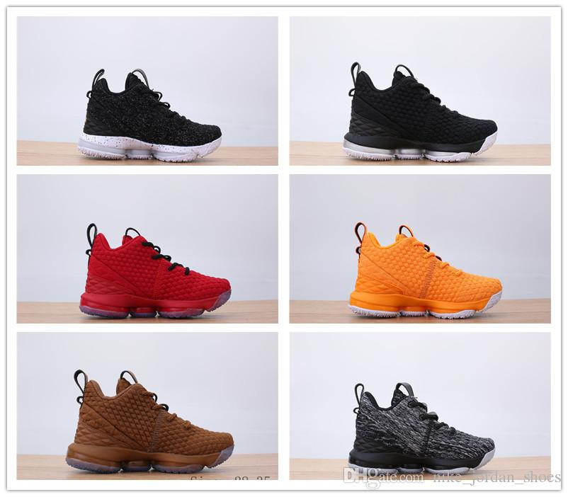 newest collection 7a3e6 4d0ce ... good 2018 2018 new lebron 15 kids basketball shoes red black orange  lebrons boys girls training