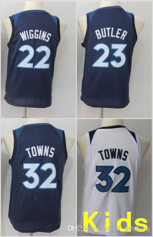 058f93b92 Youth Kids Minnesota 23 Jimmy Butler Timberwolves Jersey 22 Andrew Wiggins  32 Karl-Anthony Towns Basketball Stitched Size S-XL Online with  29.2 Piece  on ...