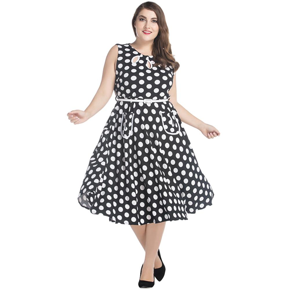 7XL Women Retro Rockabilly Dress Plus Size Audrey Hepburn Polka Dot A-Line  Dress Big Large Size Casual Party Dress Black Vestido