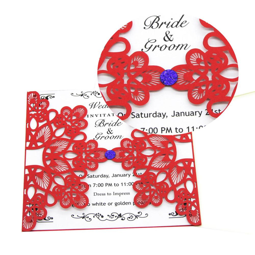 Wedding Party Invitation Card Delicate Carved Flowers Pattern ...