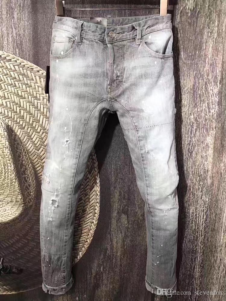 01c6d99e6 Compre 2017 Nuevo Hombre Jean Casual Pantalones De Mezclilla Gris Delgado  Rectos De Alta Calidad Pantalones Vaqueros De Mediados Pantalones Largos De  La ...