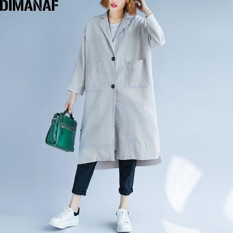 d38a5895c66 DIMANAF Women Jacket Coat Long Sleeve Outerwear Cotton Autumn Plus Size  Plaid Cardigan Female Office Lady Vintage Loose Clothing Womens Jackets  Winter ...