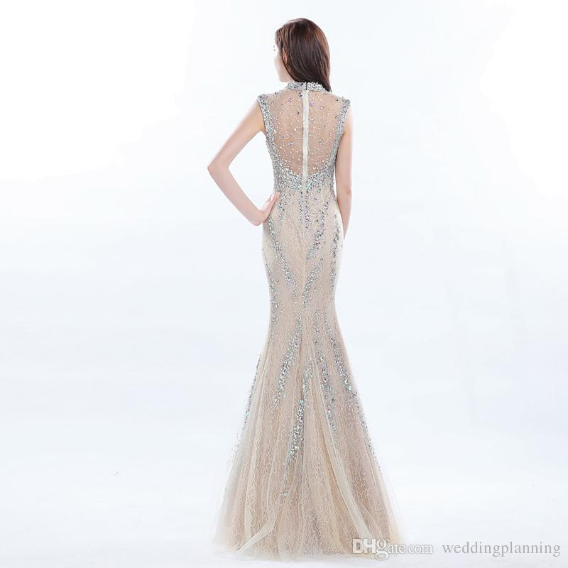 Luxury Celebrity Long Coral Prom Dress Beaded High Neck Formal Gowns Long Sequin Dress Real Photo Gown Young Lady Evening Dresses