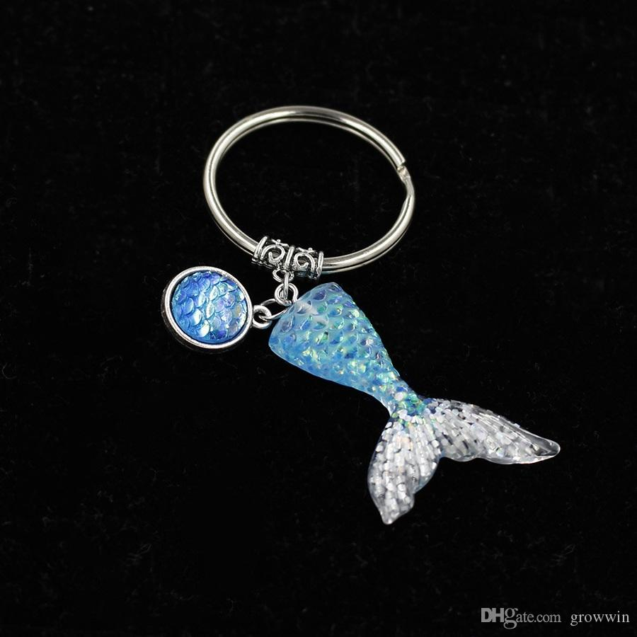 New Mermaid Tail Keychain Sequins Fishtail Keyring Decorative Pendants For Women Bags Car Key Phone D0375