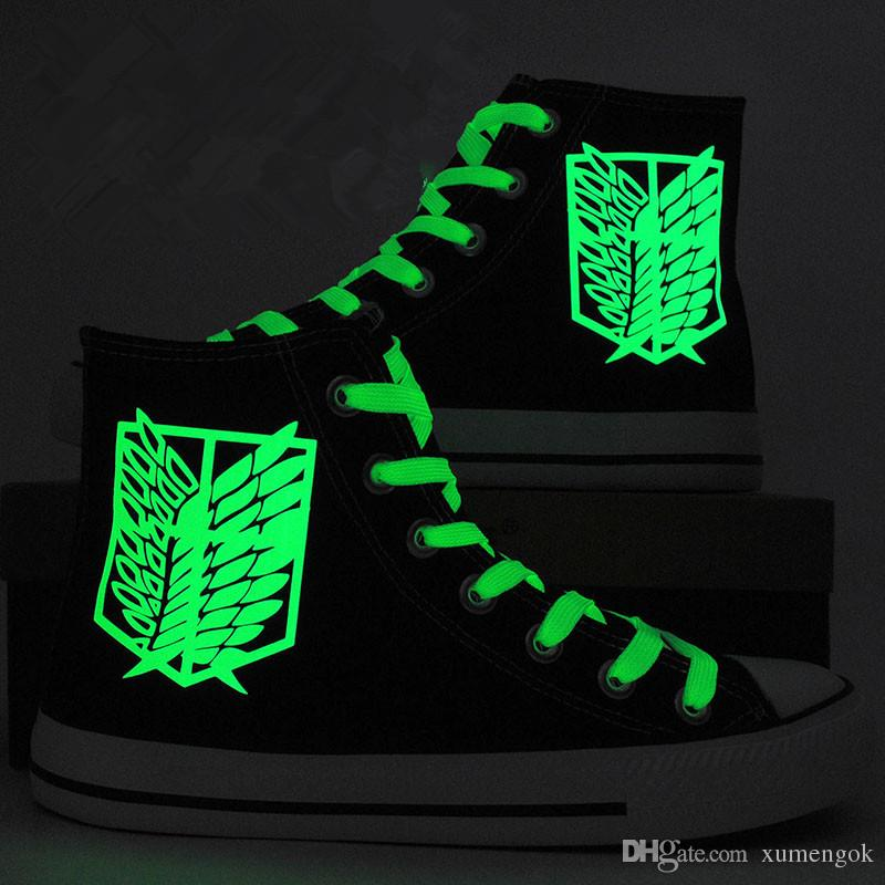 Attack On Titan High Tops Canvas Shoes Sneakers Sports Shoes Unisex Casual Shoes  Attack On Titan Birthday Gifts Christmas Gifts Green Shoes Most Comfortable  ... 1ac4754a2