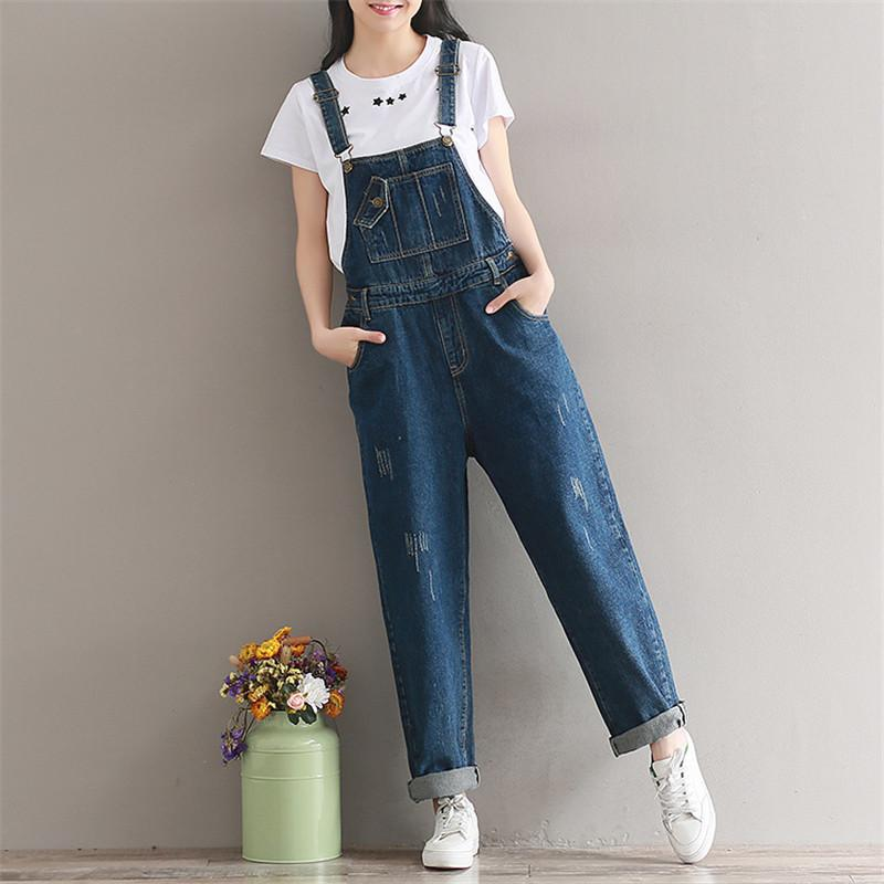 2d09604a3fc 2019 2018 Brand Jeans Women Jumpsuit Denim Romper Overalls Casual Long  Trousers Vaqueros Basic Denim Pants Wide Leg Rompers Female From  Liangcloth