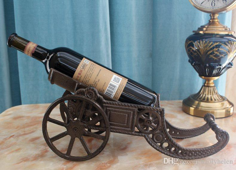 2019 Cast Iron Cannon Wine Bottle Holder Stand Tabletop Rack Wrought