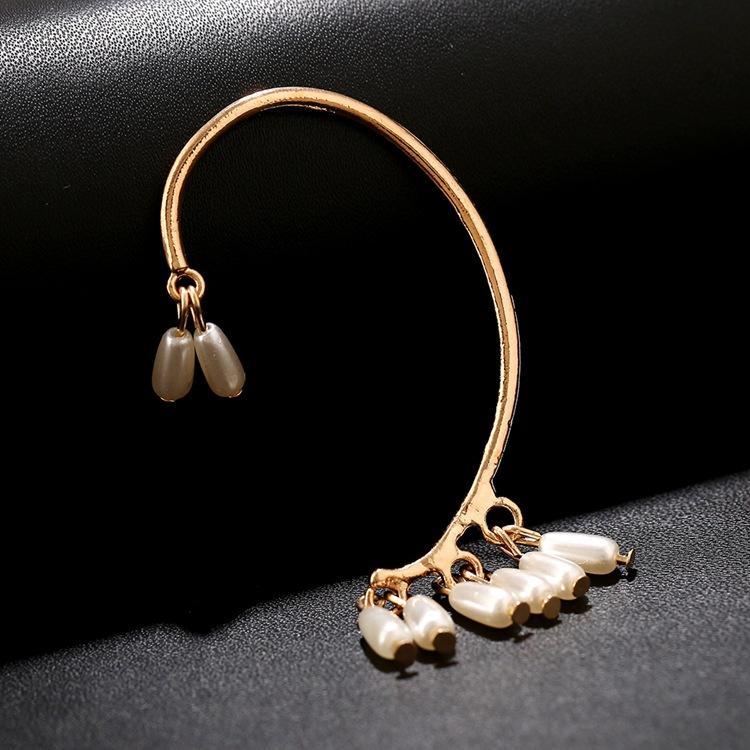 2017 Fashion Ear Cuff Fashion Gold Silver Pearl Water Drop Crystal No pierced Clip Earrings Ear Cuff For Women boucles bijoux