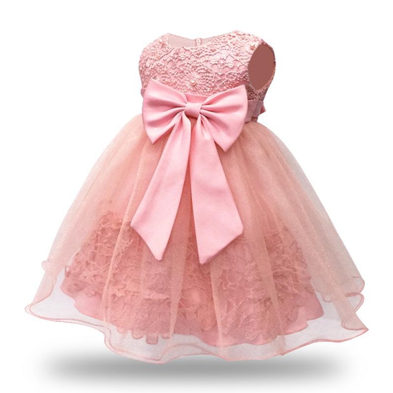 39e65dc22b Abito da bambina rosa senza maniche in pizzo vintage per 1 anno vestito da  festa di compleanno 6-12-18-24M Abiti da festa per bambini Abiti per ...