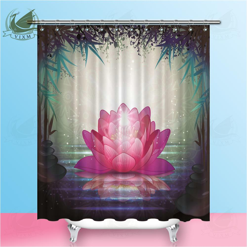 2019 Vixm Home Lotus In The Water Reflection Fabric Shower Curtain Bamboo Forest Shadow Bath For Bathroom With Hook Rings 72 X From