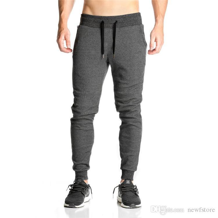 6716b80e1 2017 hombres de algodón completa ropa deportiva pantalones casuales de  algodón elástico pantalones de entrenamiento de fitness para hombre ...