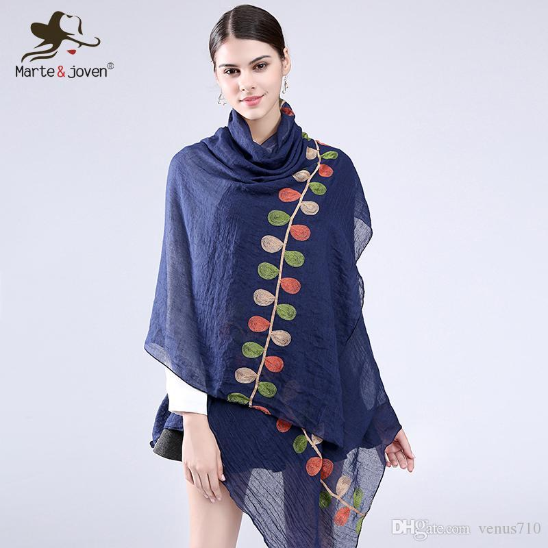 0ea11d2b99a87 Marte&Joven Color Leaf Embroidered Long Scarves And Wrap For Women Fashion  Design Casual Cotton Blends Scarf And Shawls Head Scarves Fur Scarf From  Venus710 ...