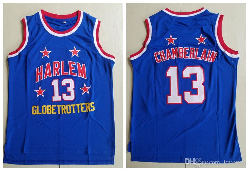 official photos a78e7 2c8c2 Mens #13 Wilt Chamberlain Harlem Globetrotters Basketball Jersey Cheap  Vintage Blue Wilt Chamberlain Stitched Shirts S-XXL