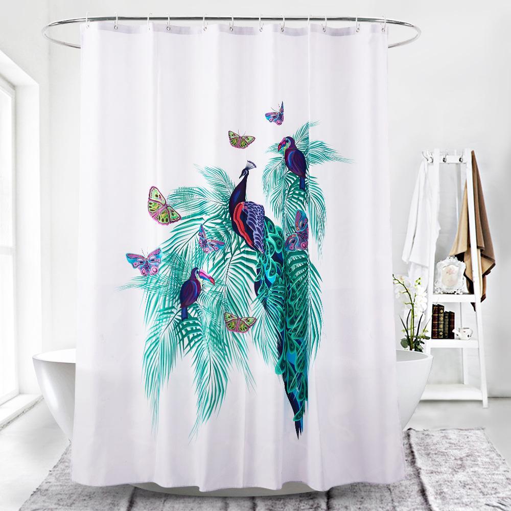 Shower Curtains 3d Peacock Feather 8 Shower Curtain Waterproof Fiber Bathroom Windows Toilet Bath