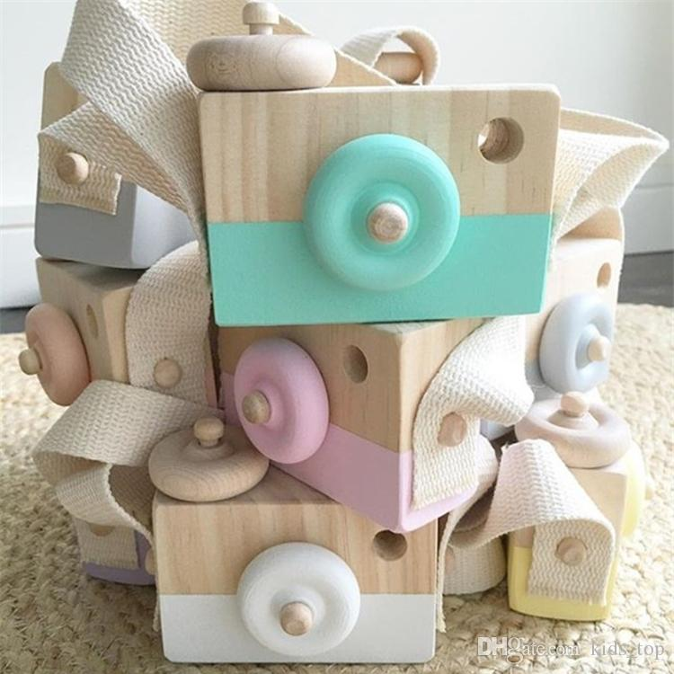 Lovely Cute Wooden Cameras Toys For Baby 8 colors Kids Room Decor  Furnishing Articles Child Birthday Gifts Nordic European Style LA607
