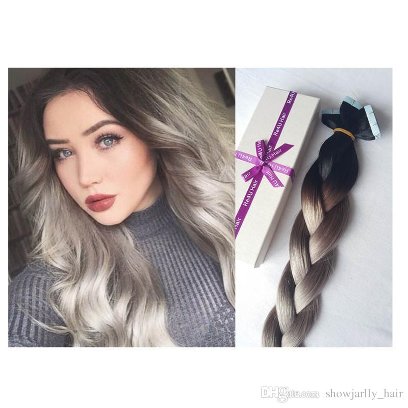 Ombre Color 1bgrey 20inch Brazilian 50g Skin Weft Cheap Virgin Remy