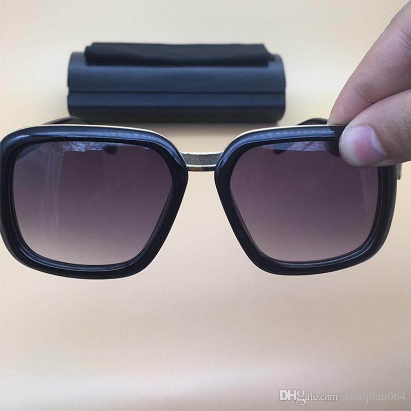 7789903eb Compre 2018 Verão Quadrado Óculos De Sol De Alta Qualidade Prancha Óculos  De Armação Preta Brilhante Óculos De Sol Das Mulheres Dos Homens Designer  De ...